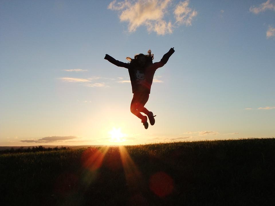 príroda, výskok, radosť
